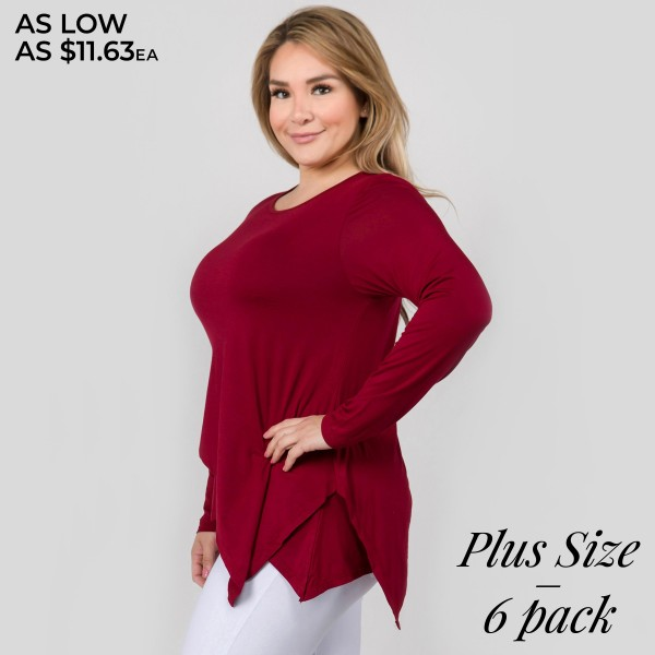 "Women's Plus Size Lightweight Long Sleeve Asymmetrical Top. (6 PACK)  • Long sleeves • Round neckline • Asymmetrical hemline • Soft and comfortable fabric with stretch • Imported  - Pack Breakdown: 6pcs/pack - Sizes: 2-XL / 2-2XL / 2-3XL - Approximately 29"" L - 95% Rayon, 5% Spandex"