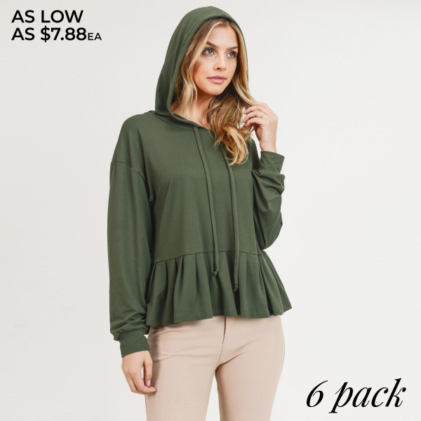"Women's solid color long sleeve hooded ruffle hem top.  • Long sleeves with banded cuffs • Ruffled hemline • Attached hood with drawstring accents • Soft and comfortable fabric with stretch • perfect for styling with jeans or leggings • Imported  - Pack Breakdown:  - Sizes: 2S / 2M / 2L - Approximately 22"" in length - 95% Polyester, 5% Spandex"