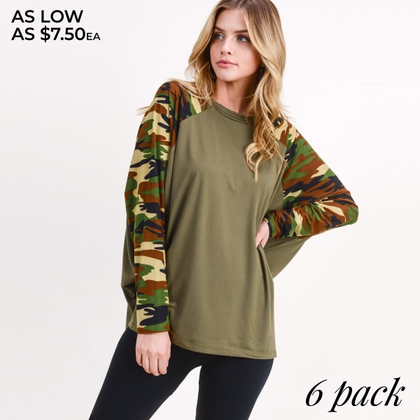 "Women's Camouflage Domain Long Sleeve Top. (6 PACK)  • Camouflage dolman sleeves • Round neckline • Oversized silhouette • Soft and comfortable fabric • Imported  - Pack Breakdown: 6pcs/pack - Sizes: 2-S / 2-M / 2-L - Approximately 28"" L - 95% Polyester, 5% Spandex"