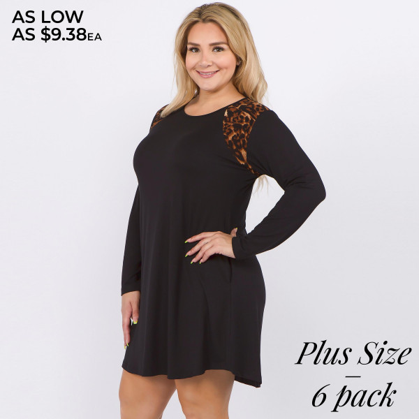 "Women's Plus Size Long Sleeve Tunic Dress Featuring Leopard Print Shoulder Detail. (6 PACK)  • 3/4 length sleeves • Crewneck • Leopard shoulder panels • Two side pockets to keep your hands warm • A-line silhouette • Soft and comfortable fabric with stretch • Perfect for styling with sneakers or heels • Imported  - Pack Breakdown: 6pcs / pack - Sizes: 2-XL / 2-2XL / 2-3XL - Approximately 35"" L - Composition: 95% Polyester, 5% Spandex"