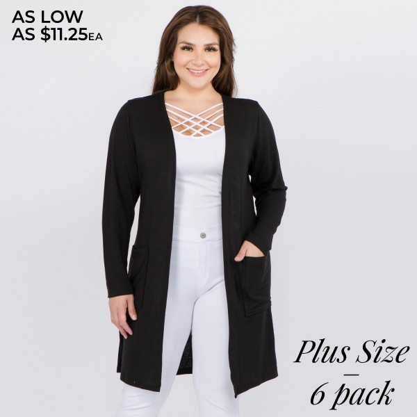 "Women's Plus Size Thin Knit Cardigan Featuring Pockets. (6 Pack)  - Long sleeves; open front  - Two Open Side Pockets, Keeps Loose Items At Hand  - Longline hem  - Soft and stretchy knit fabric  - Breathable design  - Imported  - Pack Breakdown: 6 Cardigans Per Pack  - Sizes: 2-XL / 2-2XL / 2-3XL - Approximately 36"" L - 80% Polyester, 16% Cotton, 4% Spandex"