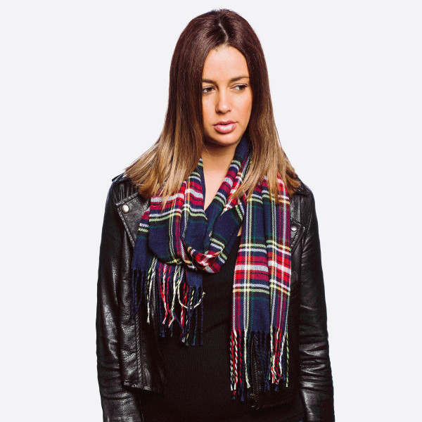 "Lightweight plaid print oblong scarf with fringes.  - Approximately 12"" W x 76"" L - 100% Polyester"