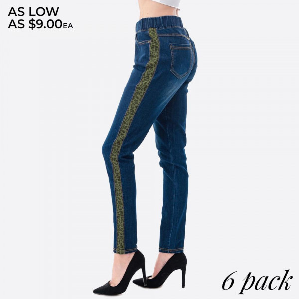 """Stretchy denim green leopard print side stripe jeggings featuring pull on style with front and back pockets.  - Pack Breakdown: 6pcs / pack - Sizes: 2S / 2M / 2L - Inseam approximately 28"""" in length - 76% Cotton, 22% Polyester, 2% Spandex"""