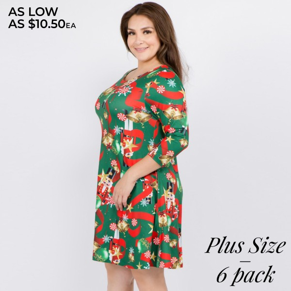 "Women's plus size Christmas nutcracker print A-Line dress with pocket details.  • 3/4 length sleeves • Crew neck • Two side seam pockets to keep your hands warm • A-line silhouette • Nutcracker Christmas print • Soft and comfortable fabric with stretch • Perfect for styling with heels or booties • Imported  - Pack Breakdown: 6pcs / pack - Sizes: 2-XL / 2-2XL / 2-3XL - Approximately 34"" L - 95% Polyester, 5% Spandex"