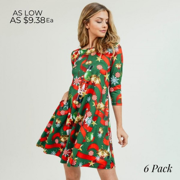 "Women's Christmas nutcracker print A-Line dress with pocket details.   • 3/4 length sleeves • Crew neck • Two side seam pockets to keep your hands warm • A-line silhouette • Nutcracker Christmas print • Soft and comfortable fabric with stretch • Perfect for styling with heels or booties • Imported  - Pack Breakdown: 6pcs / pack - Sizes: 2S / 2M / 2L - Approximately 34"" L - 95% Polyester, 5% Spandex"