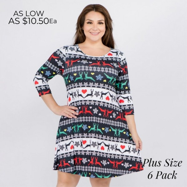 "Women's plus size Christmas fair isle reindeer print A-Line dress with pocket details.   • 3/4 length sleeves • Crew neck • Two side seam pockets to keep your hands warm • A-line silhouette • Fair isle reindeer print • Soft and comfortable fabric with stretch • Perfect for styling with heels or booties • Imported  - Pack Breakdown: 6pcs / pack - Sizes: 2-XL / 2-2XL / 2-3XL - Approximately 34"" L - 95% Polyester, 5% Spandex"