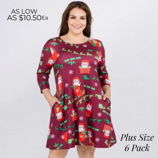 "Women's plus size Christmas Ho Ho Ho Santa print A-Line dress with pocket details.  • 3/4 length sleeves • Crew neck • Two side seam pockets to keep your hands warm • A-line silhouette • Ho Ho Ho Santa print • Soft and comfortable fabric with stretch • Perfect for styling with heels or booties • Imported  - Pack Breakdown: 6pcs / pack - Sizes: 2-XL / 2-2XL / 2-3XL - Approximately 34"" L - 95% Polyester, 5% Spandex"