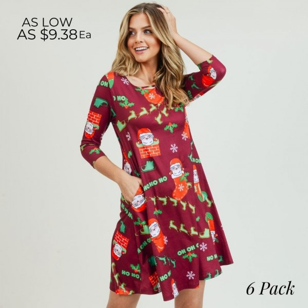 "Women's Christmas Ho Ho Ho Santa print A-Line dress with pocket details.  • 3/4 length sleeves • Crew neck • Two side seam pockets to keep your hands warm • A-line silhouette • Ho Ho Ho Santa print • Soft and comfortable fabric with stretch • Perfect for styling with heels or booties • Imported  - Pack Breakdown: 6pcs / pack - Sizes: 2S / 2M / 2L - Approximately 34"" L - 95% Polyester, 5% Spandex"