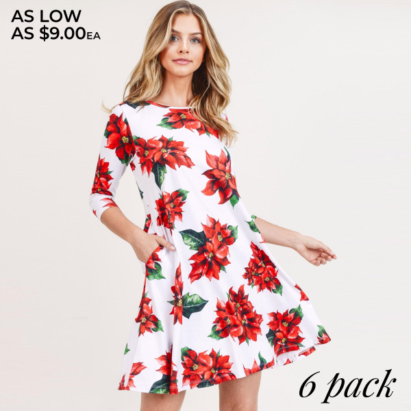 "Women's Christmas poinsettia flower print A-Line dress with pocket details.  • 3/4 length sleeves • Crew neck • Two side seam pockets to keep your hands warm • A-line silhouette • Poinsettia flower print • Soft and comfortable fabric with stretch • Perfect for styling with heels or booties • Imported  - Pack Breakdown: 6pcs / pack - Sizes: 2S / 2M / 2L - Approximately 34"" L - 95% Polyester, 5% Spandex"