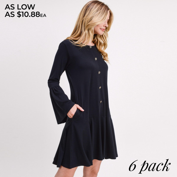 "Solid color button down ruffle hem dress.   • Round neckline  • Long bell sleeves  • Faux button down front  • Side seam pockets to keep your hands warm  • Knee-length hem with ruffle  • Soft and comfortable fabric  • Perfect for any day or night occasion  • Imported   - Pack Breakdown: 6pcs / pack - Sizes: 2S / 2M / 2L - Approximately 35"" L - Composition: 62% Polyester, 34% Rayon, 4% Spandex"