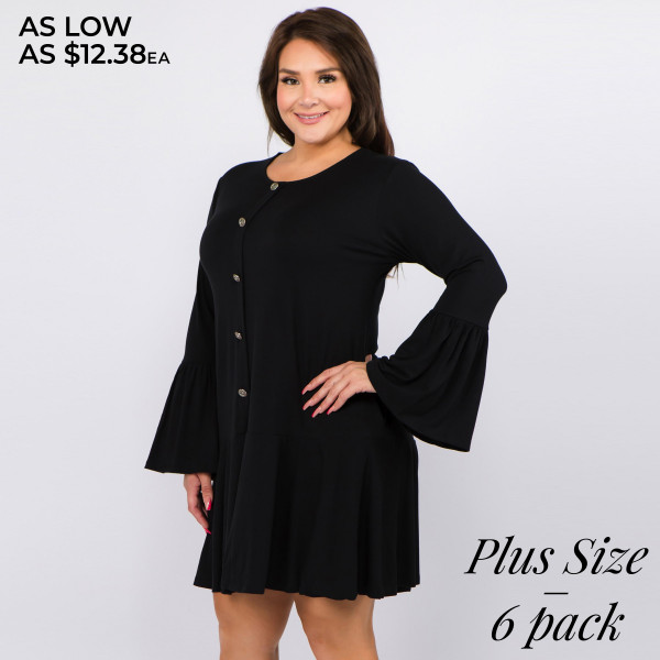 Women's Plus Size Solid Color Button Down Ruffle Hem Tunic Dress. (6 PACK)