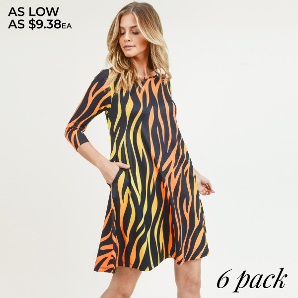 "Women's zebra print A line dress with pocket details.  • 3/4 length sleeves • Crew neck • Two side pockets to keep your hands warm • A-line silhouette • Soft and comfortable fabric with stretch • Perfect for styling with sneaker or heels • Imported  - Pack Breakdown: 6pcs / pack - Sizes: 2S / 2M / 2L - Approximately 34"" L - Composition: 95% Polyester, 5% Spandex"