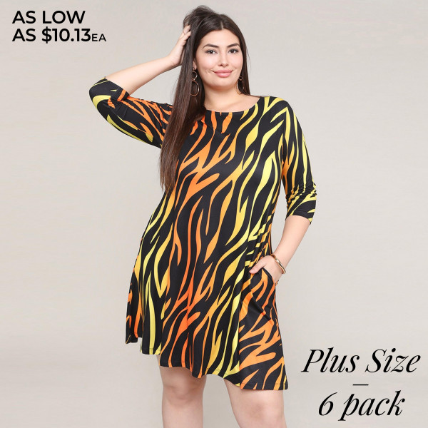 "Women's plus size zebra print A line dress with pocket details.  • 3/4 length sleeves • Crew neck • Two side pockets to keep your hands warm • A-line silhouette • Soft and comfortable fabric with stretch • Perfect for styling with sneaker or heels • Imported  - Pack Breakdown: 6pcs / pack - Sizes: 2-XL / 2-2XL / 2-3XL - Approximately 34"" L - Composition: 95% Polyester, 5% Spandex"
