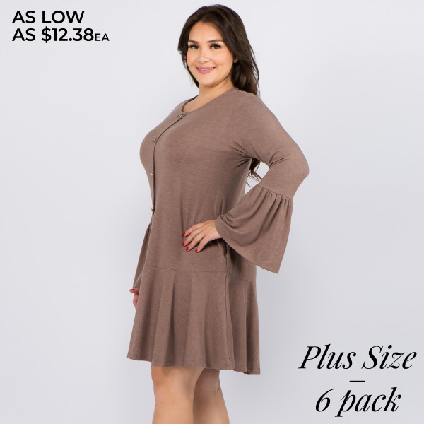 "Women's Plus Size Solid Color Button Down Ruffle Hem Tunic Dress. (6 PACK)  • Round neckline  • Long bell sleeves  • Faux button down front  • Side seam pockets to keep your hands warm  • Knee-length hem with ruffle  • Soft and comfortable fabric  • Perfect for any day or night occasion  • Imported   - Pack Breakdown: 6pcs / pack - Sizes: 2-XL / 2-1X / 2-2X - Approximately 36"" L - Composition: 62% Polyester, 34% Rayon, 4% Spandex"