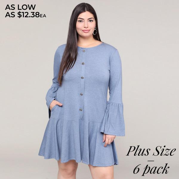 Wholesale women s Plus Solid Color Button Down Ruffle Hem Tunic Dress PACK o Rou