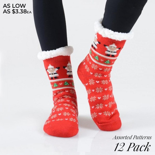 Women's Assorted Christmas Print Sherpa Socks. (12 Pack)  � Variety of Christmas patterns  � Reinforced toe seam  � Silicon rubber dot traction bottom  � Plush faux sherpa lining  � Thick  � Breathable  � Perfect for wearing indoors  � Imported   - 10 Pair of Socks Per Pack - Size: Adult 9-11 - 40% Acrylic / 60% Polyester