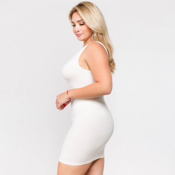 """Women's Plus Size Seamless Tank Slip Dress.  • Sleeveless  • Scoop neckline  • Curve-Hugging • Body Contouring • Soft and stretchy  • Seamless design for comfort  • Short length hem  • Imported  - One size fits most plus 16-22 - Approximately 28"""" L - 92% Nylon, 8% Spandex"""