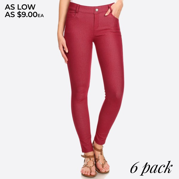"""Women's Classic Skinny Jeggings.  • Full length jeggings featuring a light sheen and jean-style • Lightweight, breathable cotton-blend material   • Belt loops with 5 functional pockets  • Shake Head Button  • Super Stretchy  • Pull up Style    - Pack Breakdown: 6pcs/pack - Size: 2-S / 2-M / 2-L  - Inseam approximately 29"""" L - 70% Cotton / 25% Polyester / 5% Spandex"""