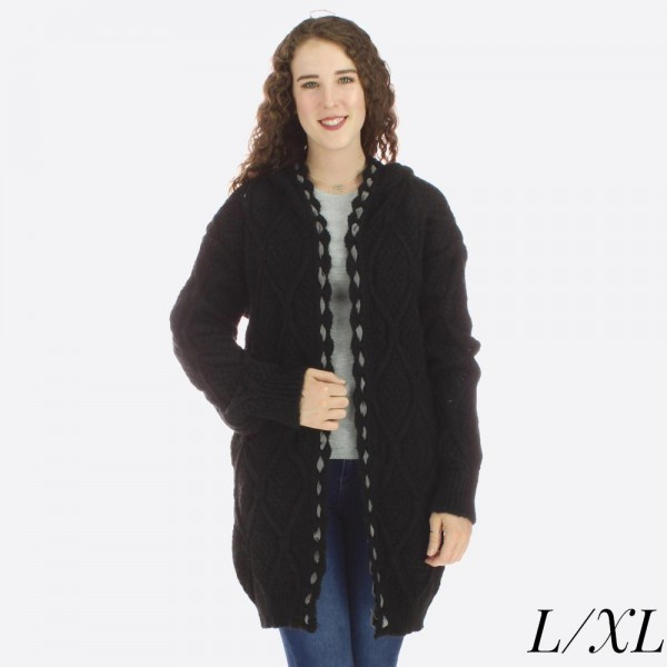 """Heavyweight enlarged honeycomb knit hooded cardigan with whipstitch trim details.  - Size: L/XL - Approximately 30"""" L - 100% Acrylic"""
