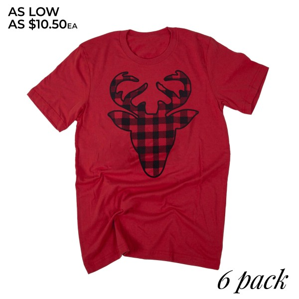 Bella Canvas short sleeve buffalo check deer boutique graphic tee.  - Pack Breakdown: 6pcs / pack - 1-S / 2-M / 2-L / 1-XL - 100% Cotton