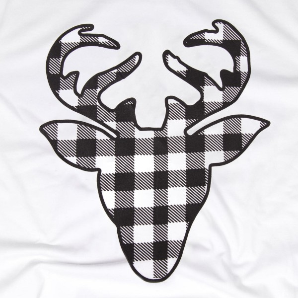 Buffalo Check Reindeer Christmas Tee.  - Printed on a Bella Canvas Brand Tee - Color: White - 6 Shirts Per Pack - 1-S / 2-M / 2-L / 1-XL - 100% Cotton