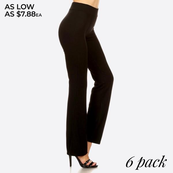 Wholesale women s front seam black casual flare pants o Elastic at Waist o Leg H