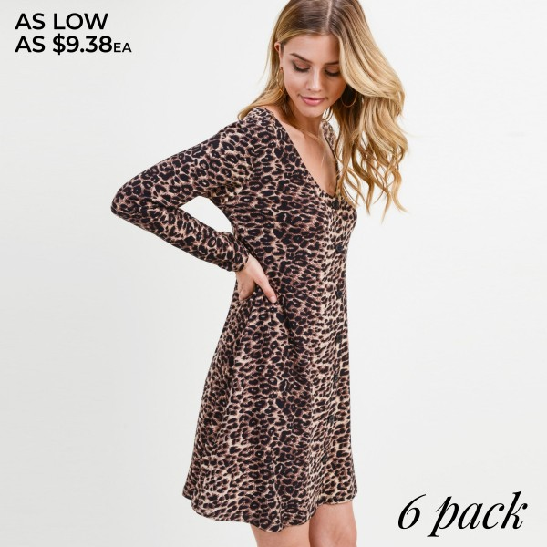 "Women's Classic Faux Button Down Leopard Print Dress with Pockets.  • Long sleeves; v-neckline • Faux button front placket • Two side seam pockets • Leopard print throughout • A-line silhouette • Soft and comfortable fabric with stretch • Above the knee length hem • Imported  - Pack Breakdown: 6 Dresses Per Pack - Sizes: 2-S / 2-M / 2-L - Approximately 34"" L - 95% Polyester, 5% Spandex"