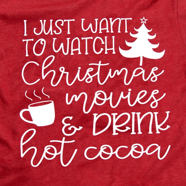 """Red Bella Canvas short sleeve Christmas printed boutique graphic tee.  """"I just want to watch Christmas movies & drink hot coco.""""  - Pack Breakdown: 6pcs / pack - 1-S / 2-M / 2-L / 1-XL - 100% Cotton"""