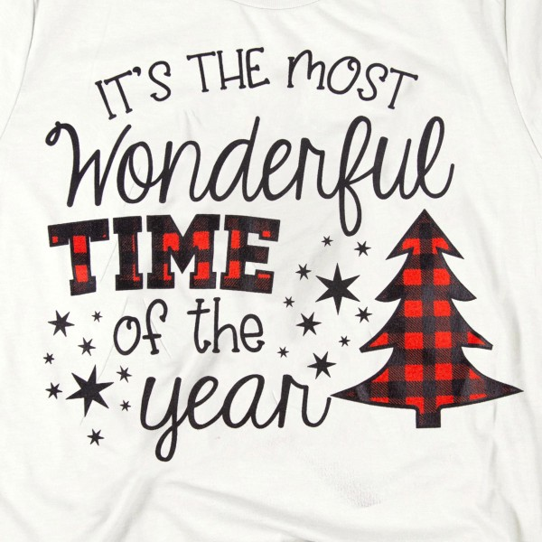 "Light Grey Bella Canvas short sleeve Christmas printed boutique graphic tee.  ""It's the most wonderful time of the year"", buffalo check pattern.  - Pack Breakdown: 6pcs / pack - 1-S / 2-M / 2-L / 1-XL - 100% Cotton"