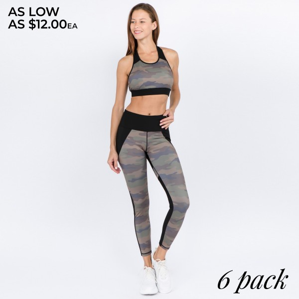 """Women's Active Camouflage Workout Leggings.  • High rise waistband features a pocket for keys, cash, or phone • Faded camouflage print • 4-way stretch for a move with you feel • Moisture wick fabric • Full length design • Fits like a glove • Perfect for low-high impact workouts • Imported  - Pack Breakdown: 6pcs/pack - Sizes: 2-S / 2-M / 2-L - Inseam approximately 27"""" in L - 75% Nylon / 25% Spandex"""