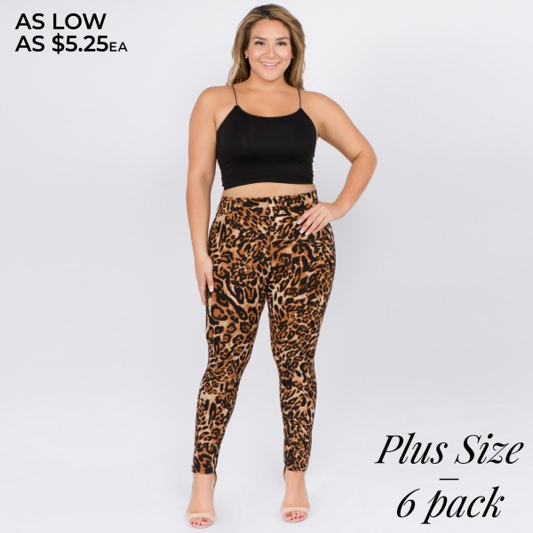 "Women's Plus Size Classic Leopard Print Leggings. (6 Pack)  • Long, skinny leg design • High rise • Elasticized waistband • Classic leopard print • Pull-on styling • Super soft peach skin fabric with stretch • Full length • Fits like a glove • Hand Wash Cold. Do not bleach. Hang Dry • Imported  - Pack Breakdown: 6pcs/pack - Size: One size fits most plus 16-22 - Inseam approximately 28"" in length - 95% Polyester, 5% Spandex"