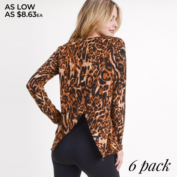 "Women's Long Sleeve Leopard Print Surplice Shirt. (6 PACK)  • Long sleeves • Round neckline • Leopard print • Surplice back • Soft and comfortable fabric with stretch • Style with jeans and booties for a night out look • Imported  - Pack Breakdown: 6pcs/pack - Sizes: 2-S / 2-M / 2-L - Approximately 24"" L - Back split approximately 11.5"" L - 95% Polyester, 5% Spandex"