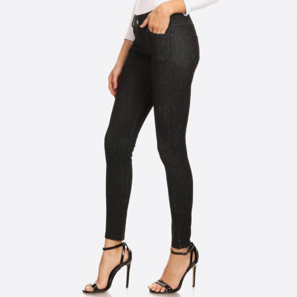 "Women's faded out soft knit skinny jeggings with pockets.  • Faux front button closure • Mid rise • 5 Pockets • Faded color accents • Skinny leg • Super soft, stretchy • Pull up styling • Imported  - Pack Breakdown: 6pcs/pack - Sizes: 2-S / 2-M / 2-L - Inseam approximately 28"" L - 60% Cotton, 33% Polyester, 7% Spandex"
