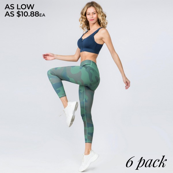 """Women's active high rise camouflage workout leggings.  • Reinforced high rise style waistband with open pocket • Camouflage print throughout • Flatlock seams along legs and triangle crotch gusset for flexibility & comfort • Stretchy and soft • Moisture wicking fabric • Stretchy, smooth and lightweight fabric • Imported  - Pack Breakdown: 6pcs/pack - Sizes: 2S / 2M / 2L - Inseam approximately 26"""" in length - 46% Polyester, 41% Nylon, 13% Spandex"""