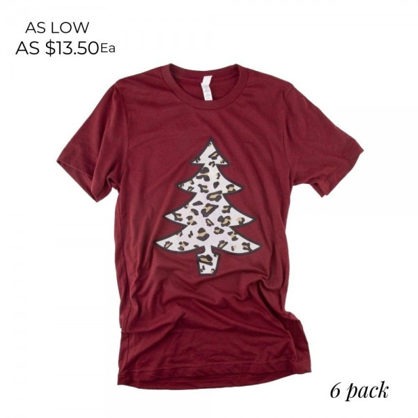 Bella Canvas short sleeve leopard print Christmas tree boutique graphic tee.  - Pack Breakdown: 6pcs / pack - 1-S / 2-M / 2-L / 1-XL - 52% Cotton, 48% Polyester
