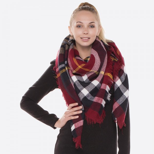 "Plaid Print Blanket Scarf/  - Approximately 54"" x 54"" - 100% Acrylic"