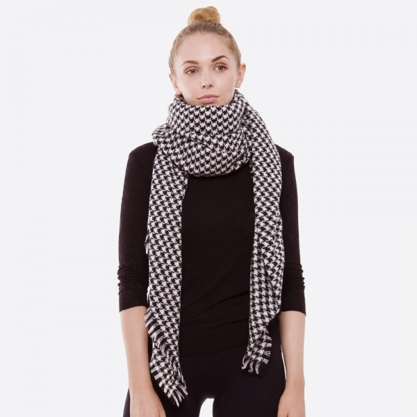"Houndstooth blanket scarf with frayed edges.  - Approximately 56"" x 56"" in size - 100% Acrylic"