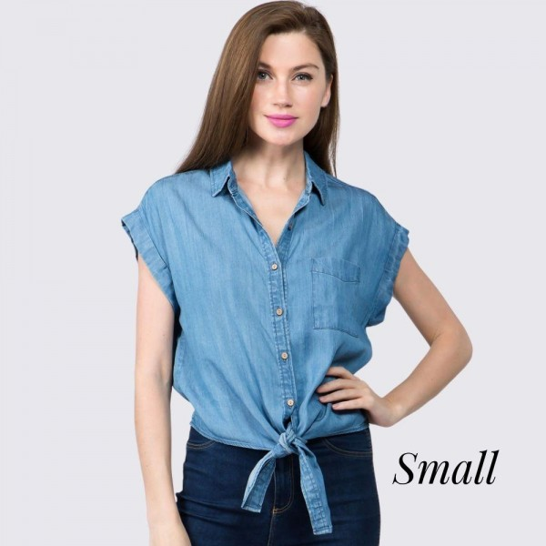 """Short sleeve denim button down collar shirt.  - Front pocket  - Button down - Front knotted self tie  - Approximately 20"""" in length - Size Small - 70% Tencel, 30% Rayon"""