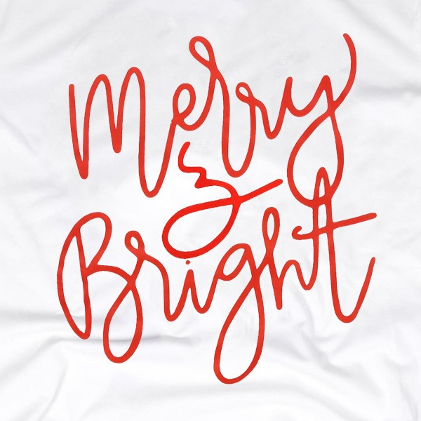 """White Anvil Lightweight short sleeve """"Merry & Bright"""" Christmas printed boutique graphic tee.  - Pack Breakdown: 6pcs / pack - 1-S / 2-M / 2-L / 1-XL - 100% Cotton"""