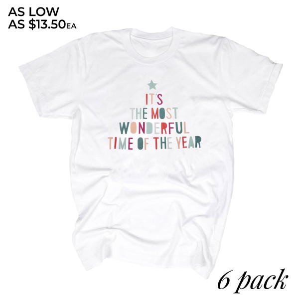 """White Gilden Dryblend short sleeve """"It's the most wonderful time of the year"""" Christmas printed boutique graphic tee.  - Pack Breakdown: 6pcs / pack - 1-S / 2-M / 2-L / 1-XL - 50% Cotton, 50% Polyester"""