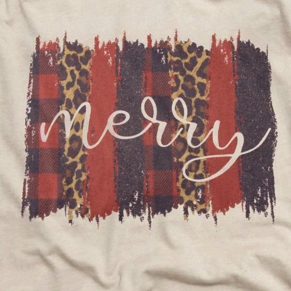 "Heather Grey Anvil Lightweight short sleeve rustic buffalo check leopard print ""Merry"" Christmas printed graphic boutique shirt.  - Pack Breakdown: 6pcs/pack - Sizes: 1-S / 2-M / 2-L / 1-XL - 65% Polyester, 35% Cotton"