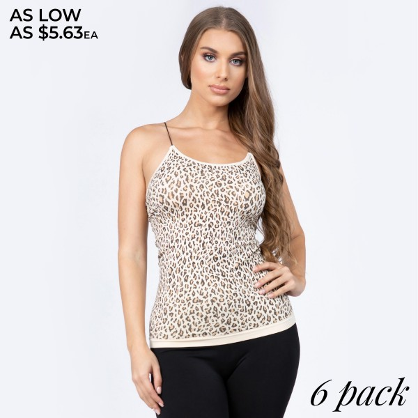 "Women's Seamless Leopard Print Camisole.  • Soft and comfortable thin straps • Leopard pattern throughout • Long length hem • Fits like a glove • Seamless design for comfort • Smooth and stretchy fabric • Perfect for layering under semi-sheer style or by itself • Imported  - Pack Breakdown: 6pcs/pack - One size fits most 0-14 - Approximately 20"" in length - 92% Nylon / 8% Spandex"