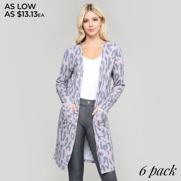 "Women's Lightweight Leopard Print Cardigan.  • Long sleeves • Open front design • Two pockets for keeping your hands warm • Leopard print • Long length hem • Soft and comfortable • Imported  - Pack Breakdown: 6pcs/pack - Sizes: 2-S / 2-M / 2-L - Approximately 36"" L - 80% Polyester / 16% Cotton / 4% Spandex"