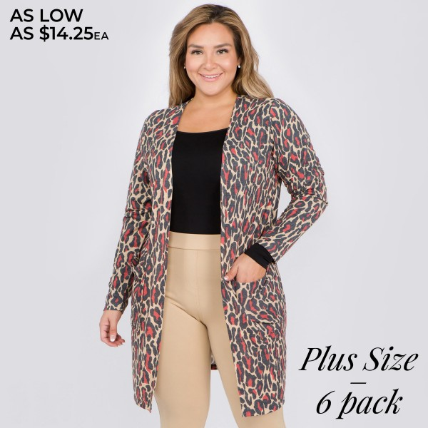 "Women's Plus Size Lightweight Red Leopard Print Cardigan.  • Long sleeves • Open front design • Two pockets for keeping your hands warm • Leopard print • Long length hem • Soft and comfortable • Imported  - Pack Breakdown: 6pcs/pack - Sizes: 2-XL / 2-2XL / 2-3XL - Approximately 38"" L - 80% Polyester / 16% Cotton / 4% Spandex"