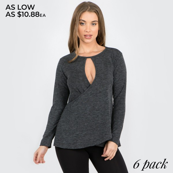 "Women's solid color long sleeve loose fitting surplice hem sweater top.  • Long sleeves • Crew neck with keyhole accent • Wrap around detail • Surplice hemline • Soft and comfortable cotton-blend fabrication • Imported  - Pack Breakdown: 6pcs/pack - Sizes: 2S / 2M / 2L - Approximately 26"" in length - 80% Polyester, 16% Cotton, 4% Spandex"