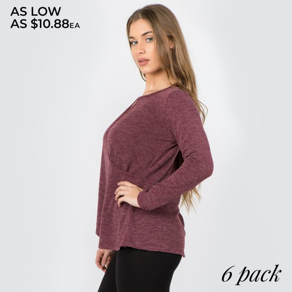 "Women's solid color long sleeve loose fitting surplice hem sweater top.  • Long sleeves • Crew neck with keyhole accent • Wrap around detail • Surplice hemline • Soft and comfortable cotton-blend fabrication • Perfect for styling with jeans or leggings • Imported  - Pack Breakdown: 6pcs/pack - Sizes: 2S / 2M / 2L - Approximately 26"" in length - 80% Polyester, 16% Cotton, 4% Spandex"
