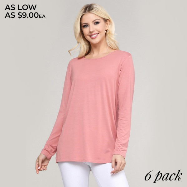 "Women's comfy solid color long sleeve cut out back top.  • Long sleeves • Crew neckline • Cut out back design • Soft and comfortable fabric with stretch • Layer over sports bras, camis, or bralettes • Imported  - Pack Breakdown: 6pcs/pack - Sizes: 2S / 2M / 2L  - Approximately 27.5"" in length - 95% Rayon, 5% Spandex"