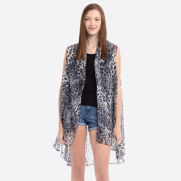 "Women's Lightweight Long Sheer Grey Leopard Print Vest.  - One size fits most 0-14 - Approximately 37"" L - 100% Polyester"