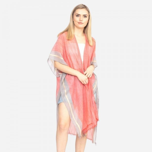 "Lightweight solid two tone trim kimono.  - One size fits most 0-14 - Approximately 37"" L - 100% Polyester"