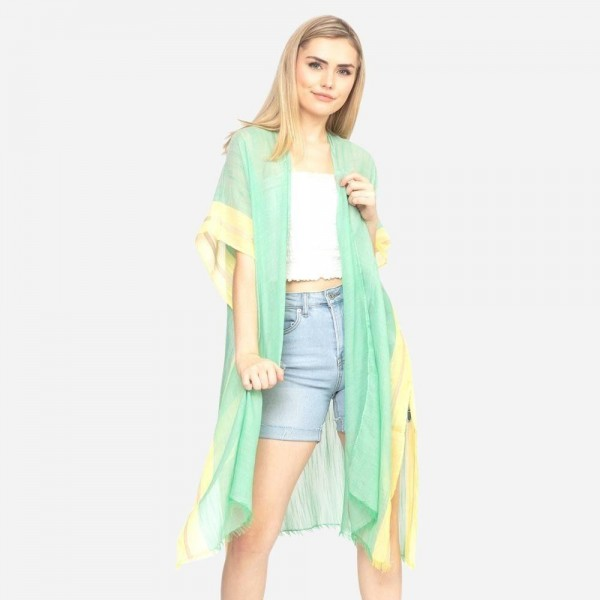 """Lightweight solid two tone trim kimono.  - One size fits most 0-14 - Approximately 37"""" L - 100% Polyester"""
